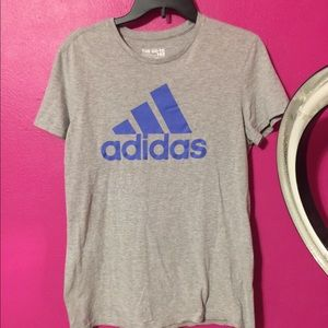 Adidas grey and blue t shirt
